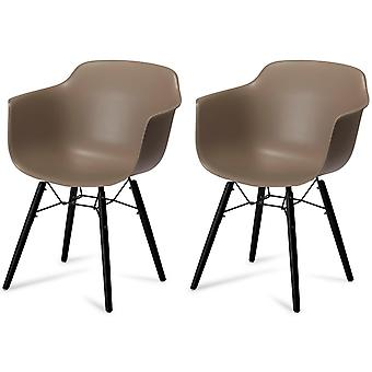 Furnhouse Jupiter Dining Chair, Grey, Black Legs, 57x57x97 cm, Set of 2
