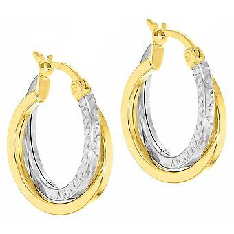 KJ Beckett Diamond Cut Crossover kreolska örhängen - gul Guld/Silver