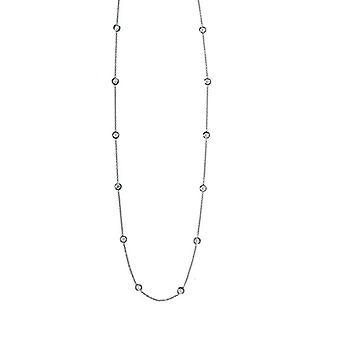 18k vitt guld 1,1 mm Diamonds Station Hummer Klo låshalsband 0,70 Dwt smycken gåvor för kvinnor - Längd: 16 till 20