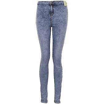 Ladies High Waist Light Acid Wash Women's Skinny Slim Fit Denim Jeans