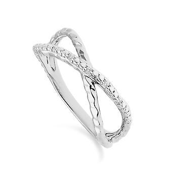 Diamant Pavé gehämmert Crossover Ring in 9ct Weißgold 162R0394019