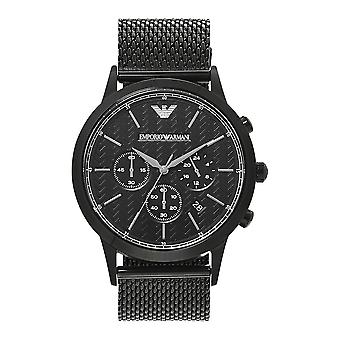 Armani Watches Ar2498 Black Mesh & Carbon Fibre Dial Men's Chronograph Watch