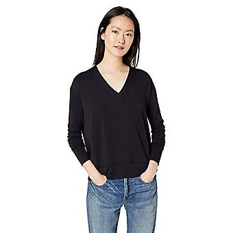Brand - Daily Ritual Women's Supersoft Terry Long-Sleeve Deep V-Neck Shirt, Navy, Large