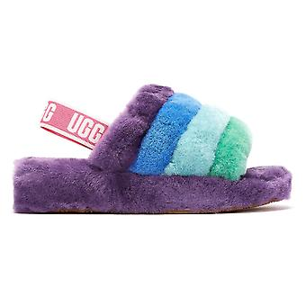 UGG Fluff Yeah Pride Stripes Womens Purple Slippers