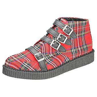 T.U.K Pointed Creeper 4 Straps Unisex Creeper Boots in Red Tartan