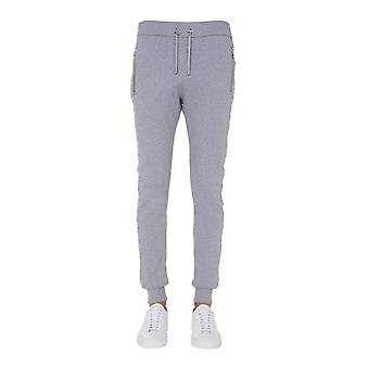 Balmain Uh15632i3389ub Men's Grey Cotton Joggers