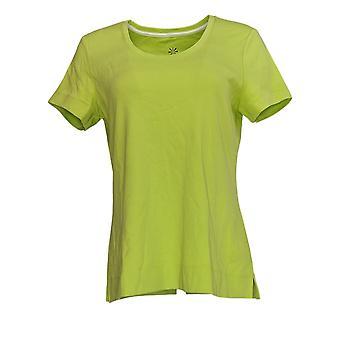 Isaac Mizrahi Live! Frauen's Top Essentials Scoop Neck T-Shirt grün A378518