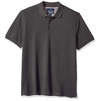 BUTTONED DOWN Men's Slim-Fit Supima Cotton Stretch Pique Polo Shirt, Charcoal Heather, 4XL