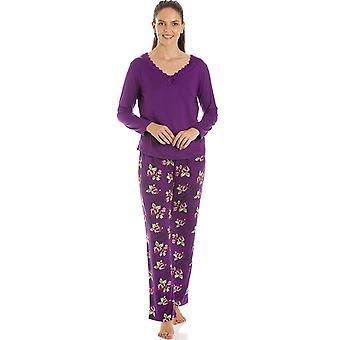Camille Womens Purple Floral Print Spandex Pyjamas