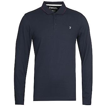 Farah Simmons Long Sleeve Navy Polo Shirt