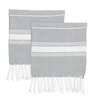 Nicola Spring Children's Turkse katoenen handdoek set | Strandbad zwemmen | Hammam Peshtemal Fouta Style - Grijs - Pack van 2