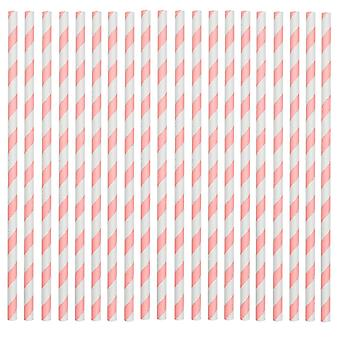 Rink Drink Biodegradable Paper Drinking Straws - Pink and White - Pack of 100