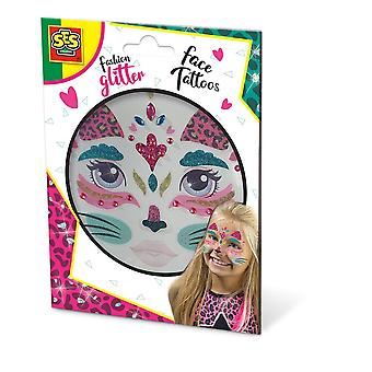 SES Creative Cat Fashion Temporary Glitter Face Tattoos Girl Multi-color 14146