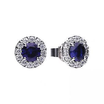 Boucles d'oreilles rondes Diamonfire Silver Blue Zirconia E5598