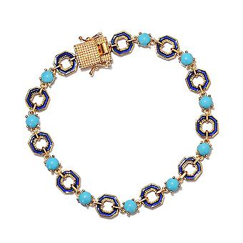 GP Turquoise Enamelled Bracelet Size 8 in 14ct Gold Plated Sterling Silver