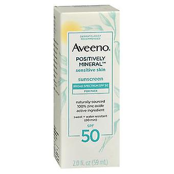Aveeno Aveeno Positively Mineral Sensitive Skin Sunscreen For Face Lotion Spf 50, 2 Oz