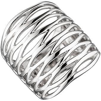 Naisten rengas leveä 925 sterling hopea rodium-päällystetty hopea rengas