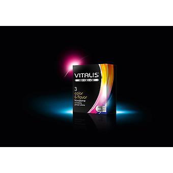 Vitalis farve og smag kondomer - pakke med 3