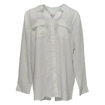 Denim & Co. Women's Top Roll Tab Sleeve Button Front Tunic White A227885