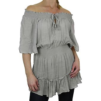 Women's Summer Off Shoulder Top Ladies Casual Elasticated Ruffle Tie Front Short Sleeve Gypsy Tunic Shirt Blouse 8-18