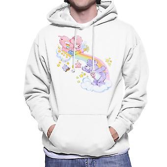 Care Bears Cheer Bear And Share Bear Unrolling A Rainbow Men's Hooded Sweatshirt