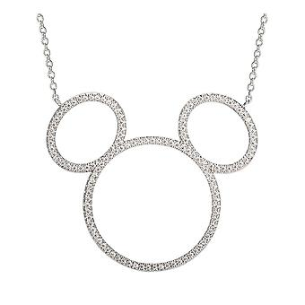 Disney Mickey Mouse Sterling Silver Stone Pendant Necklace