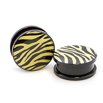 Pair of acrylic plugs with zebra print black and light yellow-sold as a pair