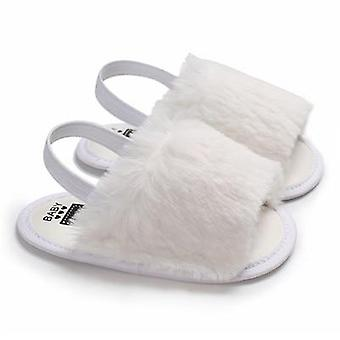 Newborn Baby Soft Sole Crib Shoes- Cute Fluffy Fur Summer Slippers Sandals