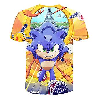 Boy Sonic Hedgehog Print Summer T-shirt, Short Sleeve Unisex Fashion's Clothing