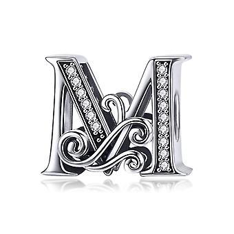 Sterling hopea kirjain aakkoset A-z charmi nimi alkuperäinen rannekoru riipus riipus