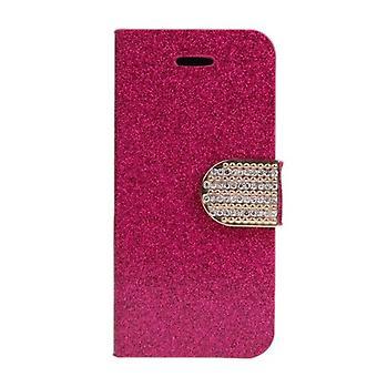 Custodia portafoglio moda Flip Leather Stand Cover con porta carte per iPhone 6 Plus Rose