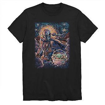 Star Wars Mandalorian e A Criança Estrela Night T-Shirt