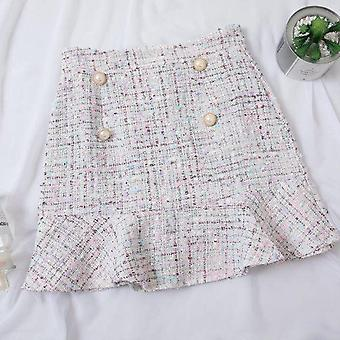 Nowy wysoki stan tweed spódnica z guzikiem wełna pół długości jesień zima