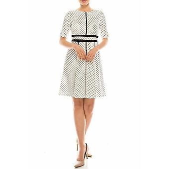 Polka Dotted A-line Dress With Black Trims