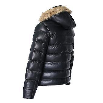 Men's Crimson Black Puffer Winter Down Leather Jacket