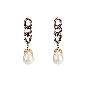 Earrings Natural Baroque White Pearl Chain Pink Rose Gold CZ Drop Statement