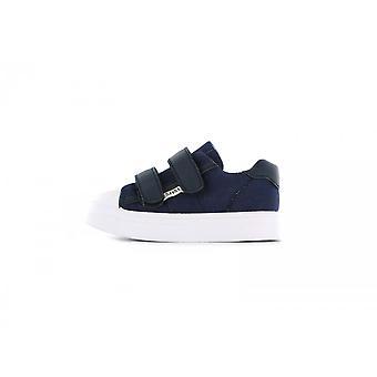 SHOESME Velcro Canvas & Leather Shoe Blue