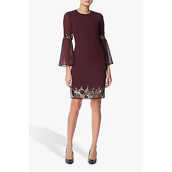 Burgundy embellished tunic dress
