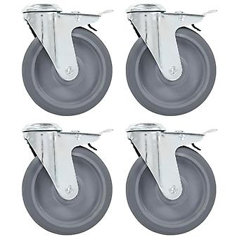 Steering wheels with bolt hole and double brakes 4 pcs. 125 mm