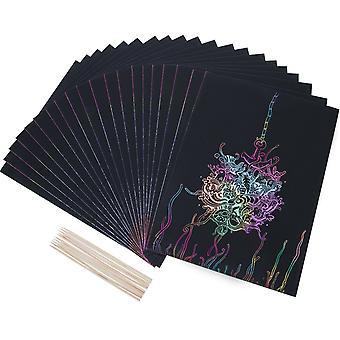 20 Lapok szivárvány scratch art papír mágikus festmény papírok kaparós táblák 10 db fa stylu