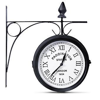 20cm Classic Garden Paddington Station Wall Clock Double-sided Outdoor Iron New