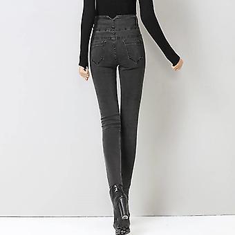 New High Waist Velvet Thick Jeans Winter Skinny Stretch Warm Pants