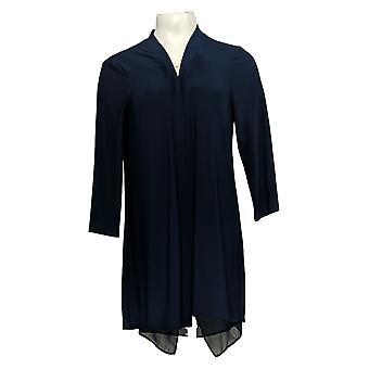 Nina Leonard Women's Sweater Cardigan Back Zipper Chiffon Blue 703-482