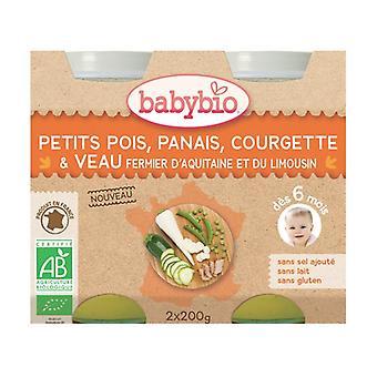 البازلاء الخضراء، parsnips، الكوسة و veal 2 وحدات من 200g