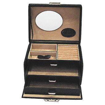Windrose Merino Jewellery Case gemaakt van fijn synthetisch, zwart