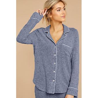 Blue Long Sleeve Drawstring Button Short Loungewear