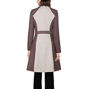 Chic Star Plus Size Wool Herringbone Coat In Charcoal/Beige