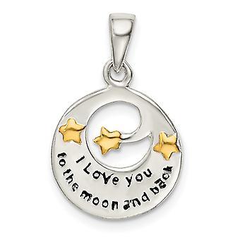 925 Sterling Silver Flash 14k Guldpläterad Älskar dig till den himmelska månen hänge Halsband Smycken Gåvor för kvinnor