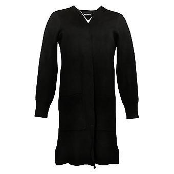Nina Leonard Women's Sweater Reg Jacquard Cardigan Black 729837