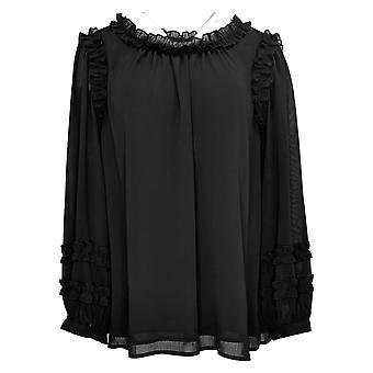 Linea By Louis Dell'Olio Women's Top Plus Ruffle Blouse Black A390842